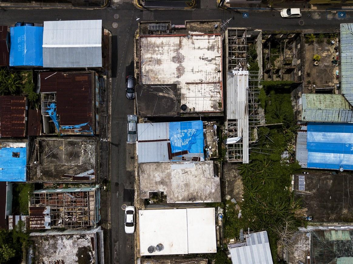 aerial view of derelict village