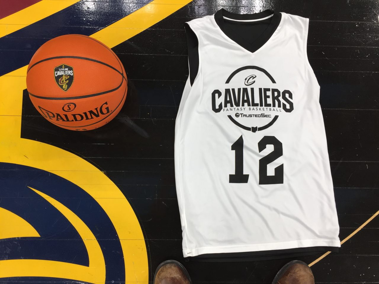 Cleveland Cavaliers and TrustedSec fantasy basketball jersey and basketball